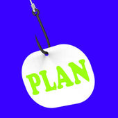 Plan On Hook Shows Planned Objectives And Mission — Stock Photo