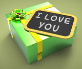 I love You Present Means Special Dates And Romantic Dinners — 图库照片