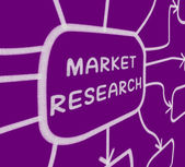 Market Research Diagram Shows Researching Consumer Demand And Pr — Stock Photo