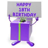 Happy 18th Birthday Sign and Gift Show Eighteenth Party — Zdjęcie stockowe