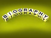 Biography Blocks Represent Writing a Memoir or Life Story — Stock Photo
