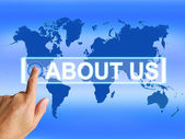 About Us Map Shows Website Information of an International Servi — Stock Photo