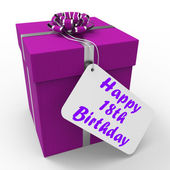 Happy 18th Birthday Gift Shows Celebrating Eighteen Years — Stock Photo