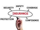 Insurance Diagram Means Coverage Safeguard And Insuring — Stock Photo