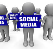 Characters Holding Social Media Signs Mean Online Communities — Stock Photo