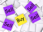 Buy Sell Post-It Notes Show Trade And Commerce — Stock Photo
