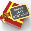Happy Sixteenth Birthday Present Shows Sweet Sixteen Celebration — Stock Photo #45522357