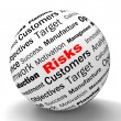 Постер, плакат: Risks Sphere Definition Shows Insecurity And Financial Risks