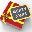 Merry Xmas Present Shows Christmas Festivity And Greetings — Stock Photo