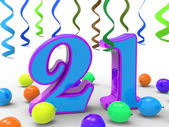 Number Twenty One Party Means Colourful And Bright Decoration An — Stock Photo
