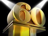 Golden Sixty On Pedestal Shows Sixtieth Entertainment Anniversar — Stock Photo