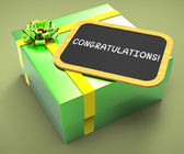 Congratulations Present Card Shows Accomplishments And Achieveme — Stock Photo