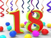 Number Eighteen Party Shows Teenager Birthday Party Or Celebrati — Stock Photo