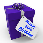 Happy 40th Birthday Gift Shows Age Forty — Stock Photo