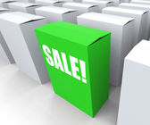 Sale! Box Shows Selling Retail and Buying — Stock Photo