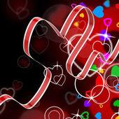 Ribbon Heart Shows Celebration Decorative Or Festive Decorations — Stockfoto