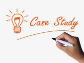 Case Study and Lightbulb Indicate Concepts Ideas and Research — Stock Photo