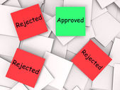 Approved Rejected Post-It Notes Means Approval Or Rejection — Stock Photo
