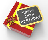 Happy Sixteenth Birthday Present Shows Sweet Sixteen Celebration — Stock Photo