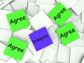Agree Disagree Post-It Notes Show Supporting Or Contrary To — Stock Photo