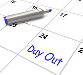 Day Out Calendar Means Excursion Trip Or Visiting — Stock Photo