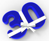 Number Thirty With Ribbon Shows Surprise Birthday Party Or Event — Stock Photo