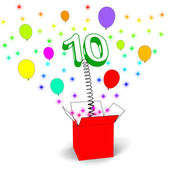 Number Ten Surprise Box Shows Numerical Toy Or Adornment — Stock Photo
