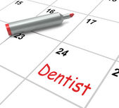Dentist Calendar Shows Oral Health And Dental Appointment — Stock Photo