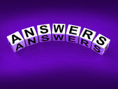 Answers Blocks Represent Responses and Solutions to Questions — Stock Photo