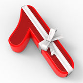 Number One With Ribbon Shows Good Wishing And Presents — Stock Photo