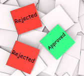 Approved Rejected Post-It Notes Show Passed Or Denied — Stock Photo