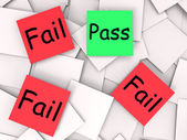 Pass Fail Post-It Notes Mean Approved Or Unsuccessful — Stock Photo