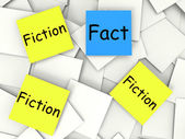 Fact Fiction Post-It Notes Show Factual Or Untrue — Stock Photo