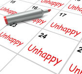 Unhappy Calendar Means Problems Stress Or Sadness — Stock Photo