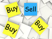 Buy Sell Post-It Notes Mean Sellers And Consumers — Stock Photo