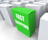 Fast Shipping Box Shows Quick Deliveries and Transportation — Stock Photo