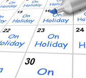 On Holiday Calendar Means Vacation And Break From Work — Stock Photo