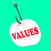 Values On Hook Means Ethical Values Or Morality — Stock Photo