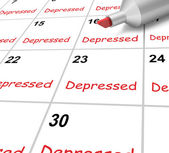 Depressed Calendar Means Down Despondent Or Mental Illness — Stock Photo