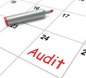 Audit Calendar Shows Inspecting And Verifying Finances — Stock Photo