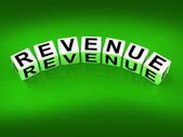 Revenue Blocks Mean Finances Revenues and Proceeds — Stock Photo