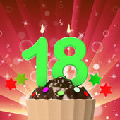 Eighteen Candle On Cupcake Means Eighteenth Birthday Cake Or Cel — Stock Photo
