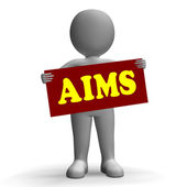Aims Sign Character Means Aspirations And Goals — Stock Photo