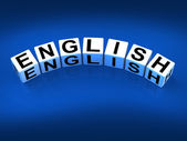 English Blocks Refer to Speaking and Writing Vocabulary from Eng — Stock Photo