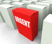 Urgent box Refers to Urgency Priority and Critical — Stock Photo