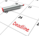 Deadline Calendar Shows Due Date And Cutoff — Stock Photo