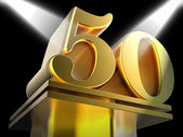 Golden Fifty On Pedestal Means Movie Awards Or Recognition — Stock Photo