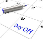 Day Off Calendar Means Work Leave And Holiday — Stock Photo