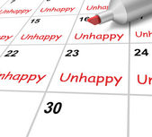 Unhappy Calendar Means Miserable Troubled Or Dissatisfied — Stock Photo
