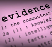 Evidence Definition Means Crime Scene Investigation And Police R — Stock Photo
